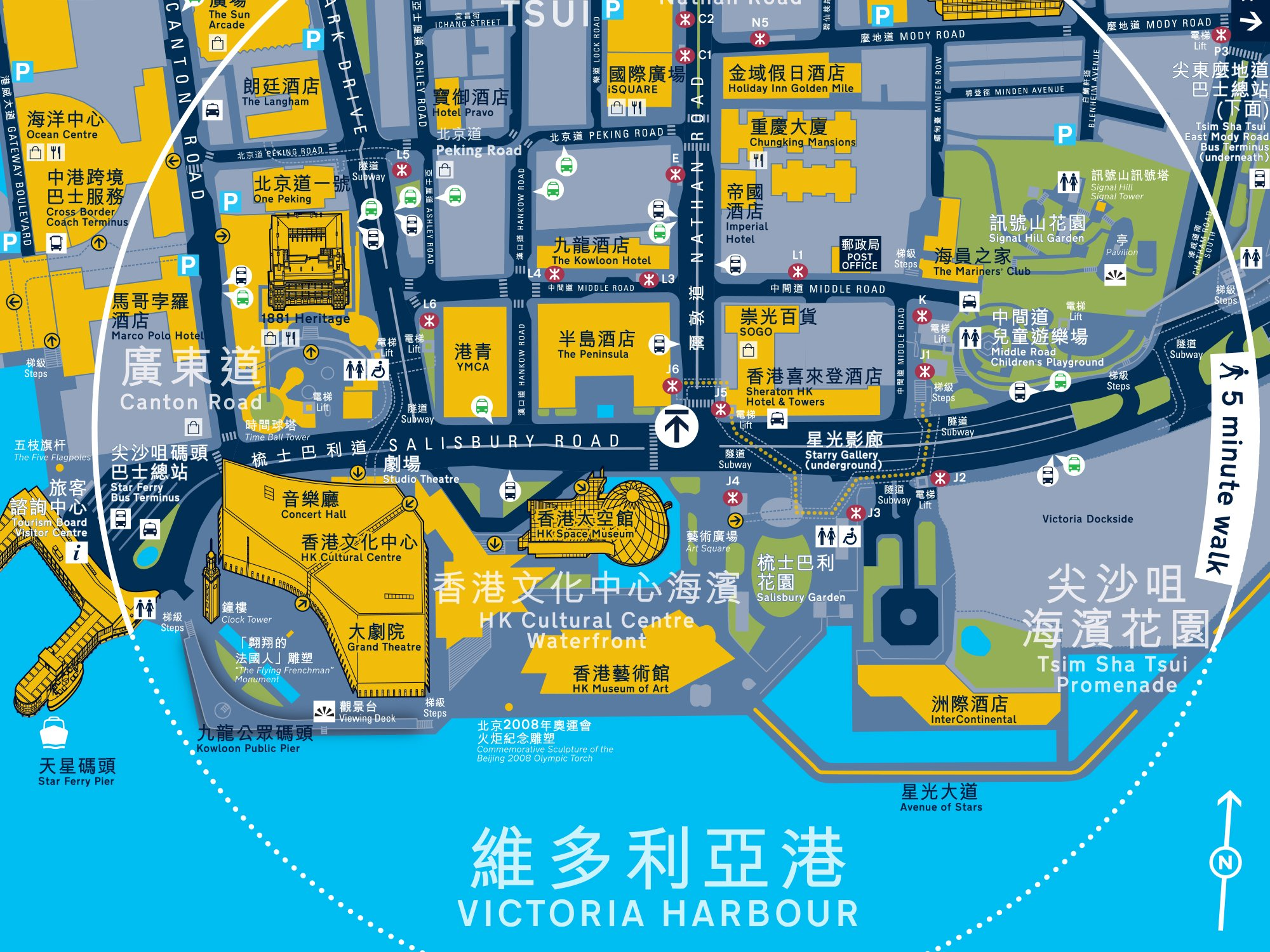 Hong Kong harbour map detail