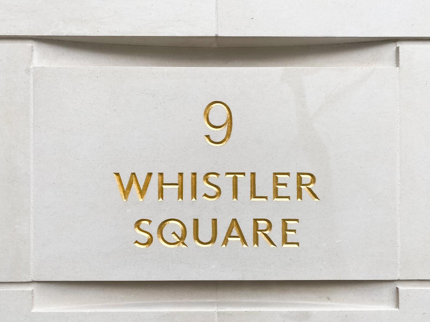Whistler Square stone engraved signage
